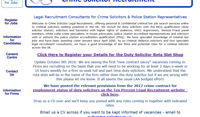 Crime Solicitor Recruitment