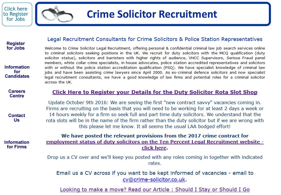 Crime Solicitor Recruitment