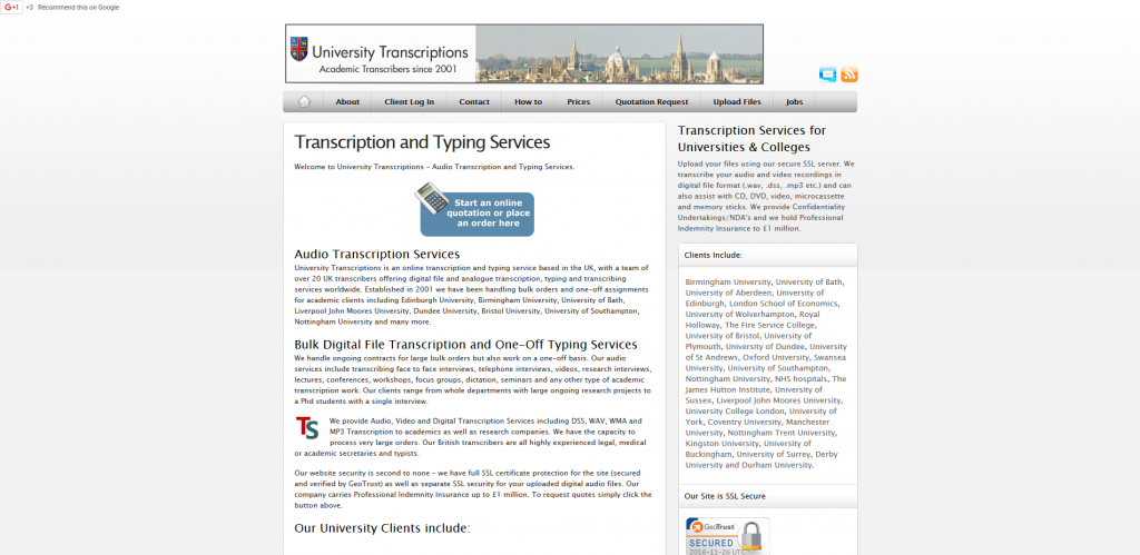 UniversityTranscriptions website
